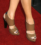 """Actress Nazanin Boniadi 's shoes at the """"Iron Man"""" premiere at Grauman's Chinese Theatre on April 30, 2008 in Hollywood, California."""