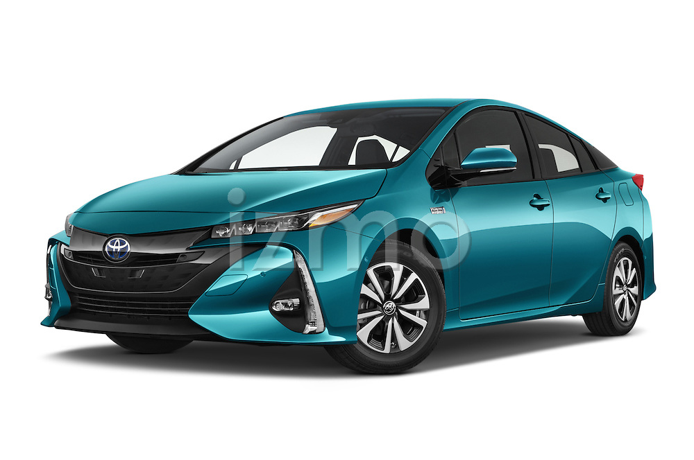 Stock pictures of low aggressive front three quarter view of 2017 Toyota PRIUS PRIME Four 5 Door Hatchback
