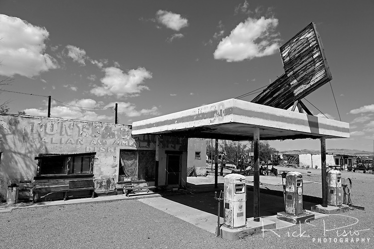 Abandoned gas station and diner along Route 66 in Newberry Springs, California.