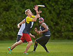 24 May 2014: Vermont High Schools compete in the first day of the VYUL State Ultimate Disk Championships at the Tree Farm Recreational Facility in Essex Junction, Vermont. Mandatory Credit: Ed Wolfstein Photo