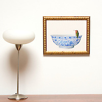 "Kroll: Hummingbird on Bowl, Digital Print, Image Dims. 11"" x 14"", Framed Dims. 13.5"" x 16"""