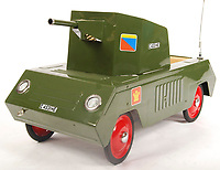 BNPS.co.uk (01202 558833)<br /> Pic: EastBristolAuctions/BNPS<br /> <br /> £2,000 - My Little Tank - A superb original vintage 1960's Tri-ang child's pedal car ' Tank ' . <br />   <br /> Toy story...<br /> <br /> A remarkable lifetime collection of 30 vintage toy cars has emerged for sale for more than £65,000.<br /> <br /> The fleet of rare pedal cars were acquired over almost half a century by retired car garage owner David Worrow, 72.<br /> <br /> During their time with Mr Worrow they formed what was believed to be the biggest private collection of its kind in the world.