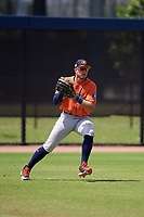 Houston Astros outfielder Seth Beer (3) throws the ball in during a Minor League Spring Training Intrasquad game on March 28, 2019 at the FITTEAM Ballpark of the Palm Beaches in West Palm Beach, Florida.  (Mike Janes/Four Seam Images)