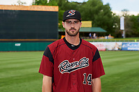 Steven Duggar (14) of the Sacramento River Cats poses for a photo before the game against the Salt Lake Bees at Smith's Ballpark on May 17, 2018 in Salt Lake City, Utah. Salt Lake defeated Sacramento 12-11. (Stephen Smith/Four Seam Images)