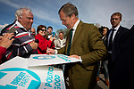 Nigel Farage MEP signs autographs for supporters after speaking on stage at a Brexit Party event in Chester, Cheshire. Mr Farage gave the keynote speech and was joined on the platform by his party colleague Ann Widdecombe, the former Conservative government minister. The event was attended by around 300 people and was one of the first since the formation of the Brexit Party by Nigel Farage in Spring 2019.