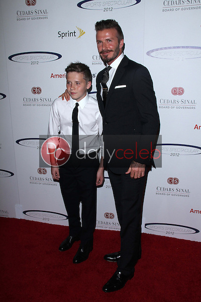 David Beckham and son Brooklyn<br />