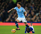 6th February 2019, Goodison Park, Liverpool, England; EPL Premier League Football, Everton versus Manchester City; Kyle Walker of Manchester City wins the ball from Lucas Digne of Everton