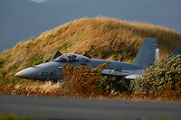 Spanish F/A-18 Hornet taxiing to the runway for take off. BOLD AVENGER 2007 (BAR 07), a NATO  air exercise at Ørland Main Air Station, Norway. BAR 07 involved air forces from 13 NATO member nations: Belgium, Canada, the Czech Republic, France, Germany, Greece, Norway, Poland, Romania, Spain, Turkey, the United Kingdom and the United States of America. The exercise was designed to provide training for units in tactical air operations, involving over 100 aircraft, including combat, tanker and airborne early warning aircraft and about 1,450 personnel.