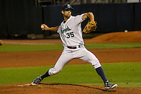 Cedar Rapids Kernels pitcher Nick Anderson (35) delivers a pitch during game five of the Midwest League Championship Series against the West Michigan Whitecaps on September 21st, 2015 at Perfect Game Field at Veterans Memorial Stadium in Cedar Rapids, Iowa.  West Michigan defeated Cedar Rapids 3-2 to win the Midwest League Championship. (Brad Krause/Four Seam Images)