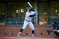 Pensacola Blue Wahoos center fielder Brian O'Grady (21) at bat in front of catcher Francisco Arcia (32) during a game against the Mobile BayBears on April 25, 2017 at Hank Aaron Stadium in Mobile, Alabama.  Mobile defeated Pensacola 3-0.  (Mike Janes/Four Seam Images)