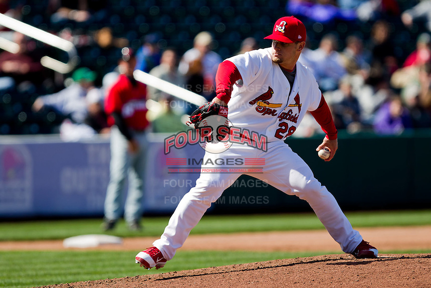Ryan Kulik (28) of the Springfield Cardinals delivers a pitch during a game against the Springfield Cardinals on April 16, 2011 at Hammons Field in Springfield, Missouri.  Photo By David Welker/Four Seam Images.