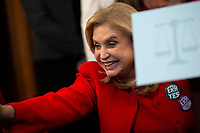 United States Representative Carolyn Maloney (Democrat of New York) waves as she arrives to a news conference on removing the deadline for ratifying the Equal Rights Amendment at the United States Capitol in Washington D.C., U.S. on Wednesday, February 12, 2020.  <br /> <br /> Credit: Stefani Reynolds / CNP/AdMedia