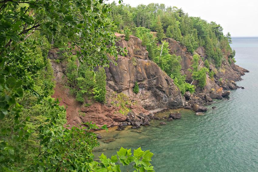 Cliffs and Lake Superior at Presque Isle Park in Marquette Michigan.