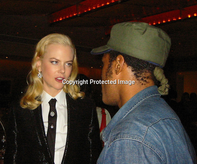 **EXCLUSIVE**<br />Nicole Kidman &amp; Maxwell<br />The Human Stain Post Premiere Party<br />Brasserie 81/2 Restaurant<br />New York, NY, USA<br />Wednesday, September, 10, 2003 <br />Photo By Celebrityvibe.com/Photovibe.com