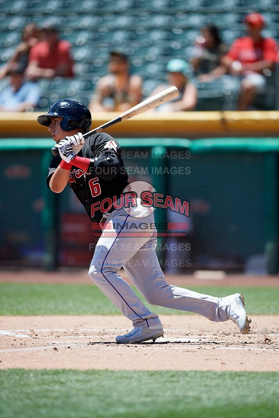 Daniel Castro (6) of the Albuquerque Isotopes bats against the Salt Lake Bees in Pacific Coast League action at Smith's Ballpark on June 11, 2017 in Salt Lake City, Utah. The Bees defeated the Isotopes 6-5. (Stephen Smith/Four Seam Images)