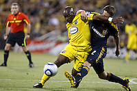 29 MAY 2010:  Emilio Renteria and Galaxy's #2 Todd Dunivant during MLS soccer game between LA Galaxy vs Columbus Crew at Crew Stadium in Columbus, Ohio on May 29, 2010. Galaxy defeated the Crew 2-0.