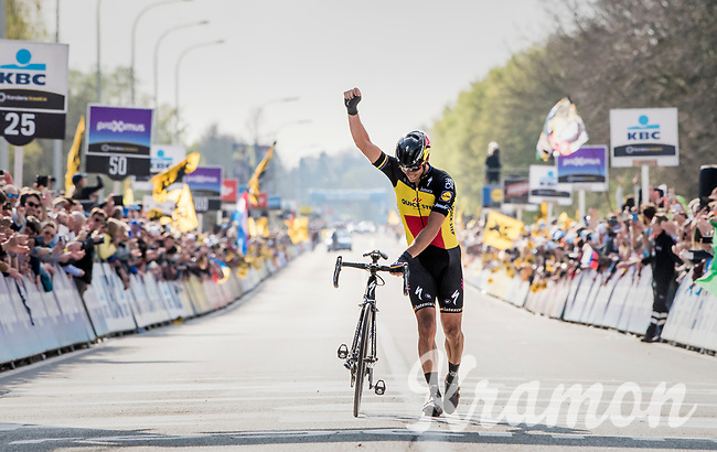 Philippe Gilbert (BEL/Quick Step floors) solo's towards victory in the 101th Ronde Van Vlaanderen 2017 (1.UWT)<br /> <br /> 1day race: Antwerp &rsaquo; Oudenaarde - BEL (260km)