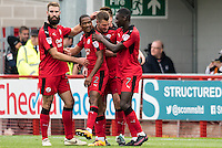 James Collins of Crawley Town (19) Celebrates scoring his sides opening goal with team mates  during the Sky Bet League 2 match between Crawley Town and Luton Town at the Broadfield/Checkatrade.com Stadium, Crawley, England on 17 September 2016. Photo by Edward Thomas / PRiME Media Images.