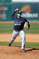 Wingate Bulldogs relief pitcher Cameron Price (30) in action against the Catawba Indians at Newman Park on March 19, 2017 in Salisbury, North Carolina. The Indians defeated the Bulldogs 12-6. (Brian Westerholt/Four Seam Images)