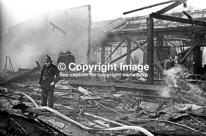 The devastation following a blaze at Smithfield Market, Belfast, N Ireland, UK, May 1974. 197405000248c<br />
