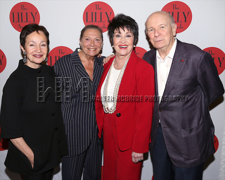 Lynn Ahrens, Graciela Daniele, Chita Rivera and Terrence McNally attends the The 6th Annual LILLY Awards at Playwrights Horizons on June 1, 2015 in New York City.
