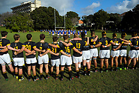 The Wellington College team faces the St Pat's haka before the Wellington Premiership secondary schools rugby match between Wellington College and St Patrick's College Town at Wellington College in Wellington, New Zealand on Wednesday, 30 May 2018. Photo: Dave Lintott / lintottphoto.co.nz