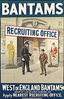 BNPS.co.uk (01202 558833)<br /> Pic: Wikipedia<br /> <br /> A recruitment poster for the 'West of England Bantams'<br /> <br /> The heroics of a pint-sized soldier who was part of the so-called Tommy Thumb Regiment can be told over 100 years later after his gripping war diary went up for sale.<br /> <br /> Since Captain Angus McKenzie Forsyth was under 5ft 3ins he fell below the British Army's minimum height requirement in World War One.<br /> <br /> However, such was the necessity to recruit men to fight in the trenches, special 'Bantam' units were formed for vertically-challenged Tommies <br /> <br /> Men who measured between 4ft 10ins and 5ft 3ins were eligible.
