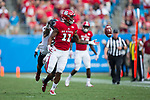 Jakobi Meyers (11) of the North Carolina State Wolfpack can't make the catch during second half action against the South Carolina Gamecocks in the Belk College Kickoff at Bank of America Stadium on September 2, 2017 in Charlotte, North Carolina.  The Gamecocks defeated the Wolfpack 35-28.  (Brian Westerholt/Four Seam Images)