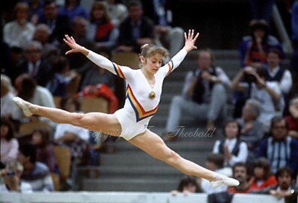 October 23, 1983; Budapest, Hungary; Artistic gymnast Ecaterina Szabo of Romania performs on floor exercise at 1983 World Championships in Budapest.  Copyright 1983 Tom Theobald
