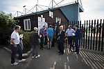 Marine 3 Ilkeston FC 1, 19/09/2015. The Mersey Travel Arena, Northern Premier League. Club chairman Paul Leary watching on as supporters arrive at the Mersey Travel Arena, home to Marine Football Club, pictured before they played host to Ilkeston FC in a Northern Premier League premier division match. The match was won by the home side by 3 goals to 1 and was watched by a crowd of 398. Marine are baed in Crosby, Merseyside and have played at Rossett Park (now the Mersey Travel Arena)  since 1903, the club having been formed in 1894.  Photo by Colin McPherson.