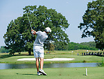 MUSCLE SHOALS, AL - MAY 25: Lynn's Jorge Villar watches his tee shot on No. 9 during the Division II Men's Team Match Play Golf Championship held at the Robert Trent Jones Golf Trail at the Shoals, Fighting Joe Course on May 25, 2018 in Muscle Shoals, Alabama. Lynn defeated West Florida 3-2 to win the national title. (Photo by Cliff Williams/NCAA Photos via Getty Images)
