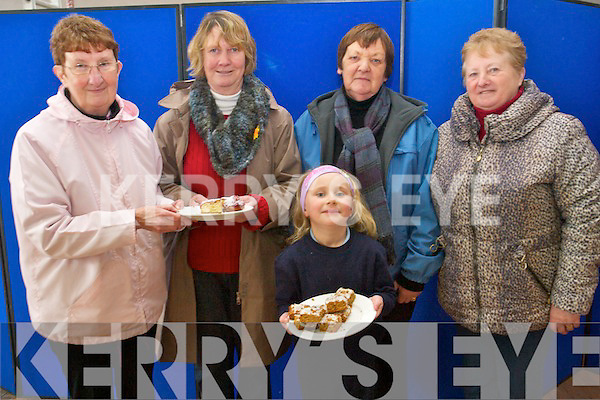 Meeting friends at the Killorglin Woman 2000 coffee morning last Friday in the CYMS hall. .L-R Maureen Crowe, Esther Leahy, Bridie Naughton, Lily Sue Eyers and Kathy Corkery.