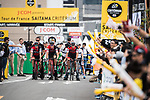 BMC Racing Team riders ready to start the team time trial during the Tour de France Saitama Critérium 2017 held around the streets os Saitama, Japan. 4th November 2017.<br /> Picture: ASO/Pauline Ballet | Cyclefile<br /> <br /> <br /> All photos usage must carry mandatory copyright credit (© Cyclefile | ASO/Pauline Ballet)