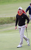 Romain Wattel (FRA) on the 3rd during Round 2 of the KLM Open at Kennemer Golf &amp; Country Club on Friday 12th September 2014.<br /> Picture:  Thos Caffrey / www.golffile.ie