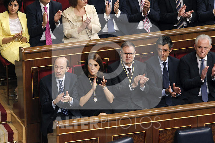 Coronation ceremony in Madrid. Alfredo Perez Rubalcaba and other members of PSOE at Congreso de los Diputados during the ceremony. June 19 ,2014. (ALTERPHOTOS/EFE/Pool)