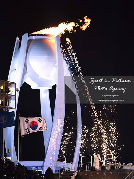 The Olympic flame is lit. Opening Ceremony. Pyeongchang2018 winter Olympics. Olympic stadium. Pyeongchang. Republic of Korea. 09/02/2018. ~ MANDATORY CREDIT Garry Bowden/SIPPA - NO UNAUTHORISED USE - +44 7837 394578