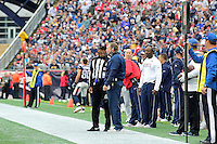 Sunday, October 2, 2016: New England Patriots head coach Bill Belichick talks to an official during the NFL game between the Buffalo Bills and the New England Patriots held at Gillette Stadium in Foxborough Massachusetts. Buffalo defeats New England 16-0. Eric Canha/Cal Sport Media
