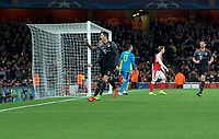 Robert Lewandowski of Bayern Munich (9) celebrates after scoring from the penalty spot to make it 1-1- on the night during the UEFA Champions League round of 16 match between Arsenal and Bayern Munich at the Emirates Stadium, London, England on 7 March 2017. Photo by Alan  Stanford / PRiME Media Images.