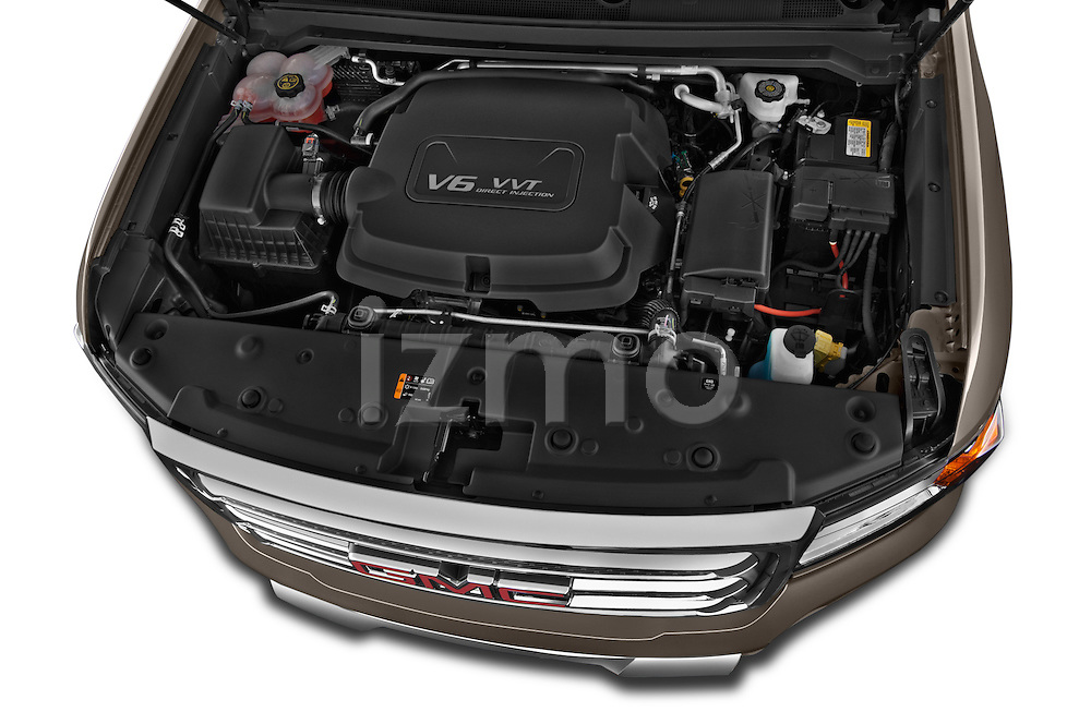 Car Stock 2015 GMC Canyon SLT Crew Cab SWB 4 Door Truck Engine high angle detail view