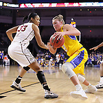 SIOUX FALLS, SD: MARCH 6: Clarissa Ober #21 of South Dakota State drives around Mikale Rogers #33 of IUPUI during the Summit League Basketball Championship on March 6, 2017 at the Denny Sanford Premier Center in Sioux Falls, SD. (Photo by Dick Carlson/Inertia)