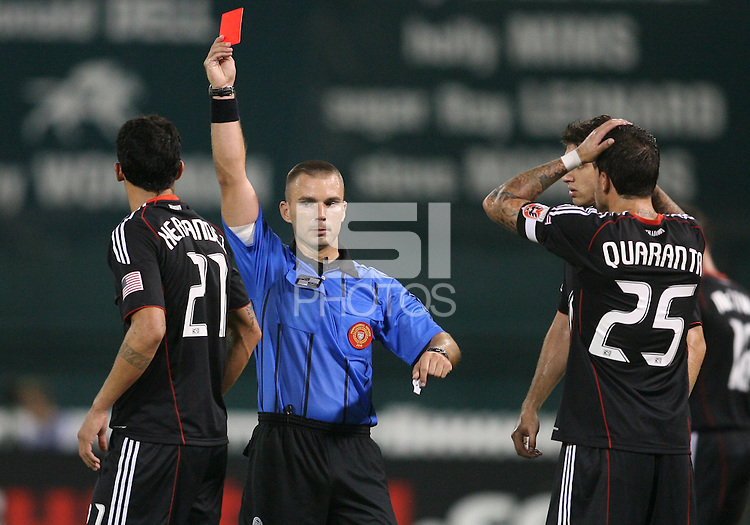 Pablo Hernandez #21 of D.C. United receives a red card from referee Chris Penso during a US Open Cup semi final match against the Columbus Crew at RFK Stadium on September 1 2010, in Washington DC. Columbus won 2-1 aet.