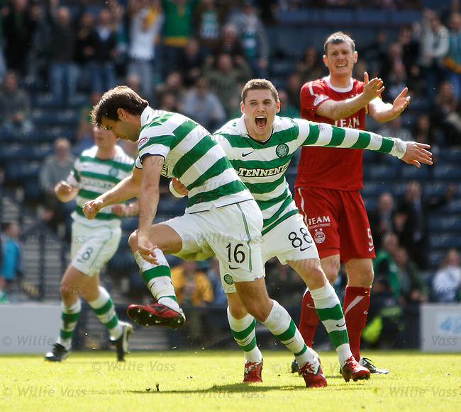 Joe Ledley celebrates his goal with Gary Hooper as Zander Diamond looks distraught