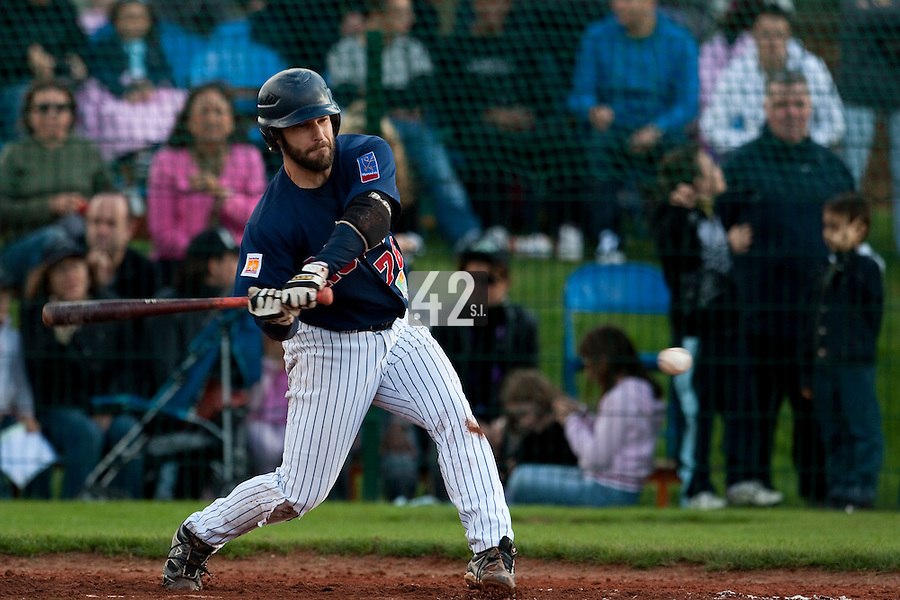 10 october 2009: Dany Scalabrini of Rouen is seen at bat during game 3 of the 2009 French Elite Finals won 4-2 by Savigny over Rouen, at Stade Jean Moulin stadium in Savigny sur Orge, near Paris, France.
