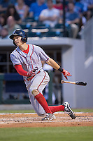Trea Turner (7) of the Syracuse Chiefs follows through on his swing against the Charlotte Knights at BB&T BallPark on June 1, 2016 in Charlotte, North Carolina.  The Knights defeated the Chiefs 5-3.  (Brian Westerholt/Four Seam Images)