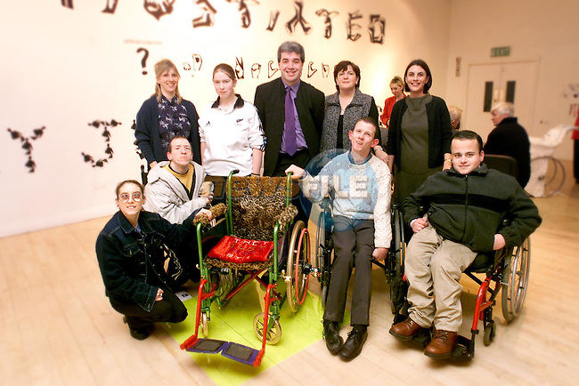 """Pictured at the opening of the """"Are You Accessible?"""" exhibition in the Droichead Arts Centre were Back Row L/R, Kirsty McGhie (artsist), Louise McDonald, Kieran Gllagher (artist) Mildred Carroll (Disability Interest Group and Carina McGrail (Droichead Arts Centre). Front Row L/R, Sarah Mallon, Malcolm Farrell, David Walsh and Jonathon Smith.Picture: Paul Mohan/Newsfile"""