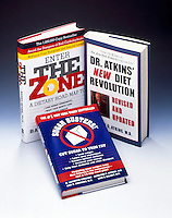 3 DIET BOOKS FROM THE 1990'S Atkins, Sugar Busters &amp; The Zone<br /> These programs favor a high protein low sugar diet.