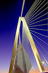 Arthur Ravenel Jr Bridge over the Cooper River in Charleston South Carolina at night High, Dynamic, Range, HDR