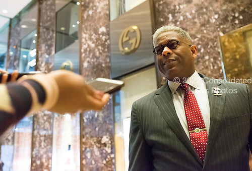 Former United States Representative and Retired Lt. Colonel Allen West (Republican of Florida) is seen in the lobby of Trump Tower in New York, NY, USA upon his arrival on December 12, 2016. <br /> Credit: Albin Lohr-Jones / Pool via CNP