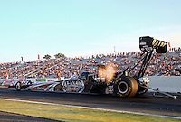 Aug 15, 2014; Brainerd, MN, USA; NHRA top fuel dragster driver Shawn Langdon during qualifying for the Lucas Oil Nationals at Brainerd International Raceway. Mandatory Credit: Mark J. Rebilas-USA TODAY Sports