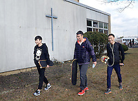 SEGAN13P<br /> From left, international students  Hank Chen, Jack Fu and Arthur Pu walk past the monastery where they are staying at Conwell-Egan Catholic High School Friday March 4, 2016 in Fairless Hills, Pennsylvania. (William Thomas Cain/For The Inquirer)